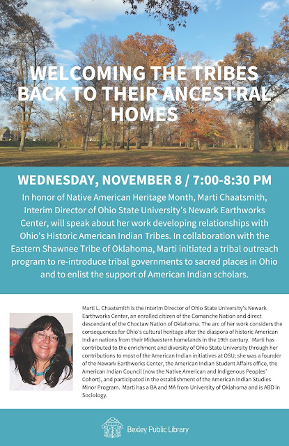 Welcoming the Tribes Back to Their Ancestral Homes by Interim Director Marti Chaatsmith of The Newark Earthworks Center Flyer.