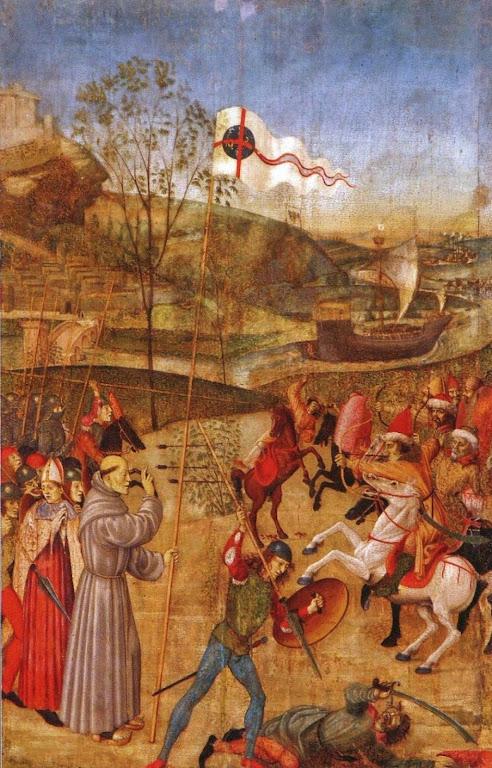 São João de Capistrano arenga os combatentes católicos. Giovanni di Bartolomeo d'Aquila
