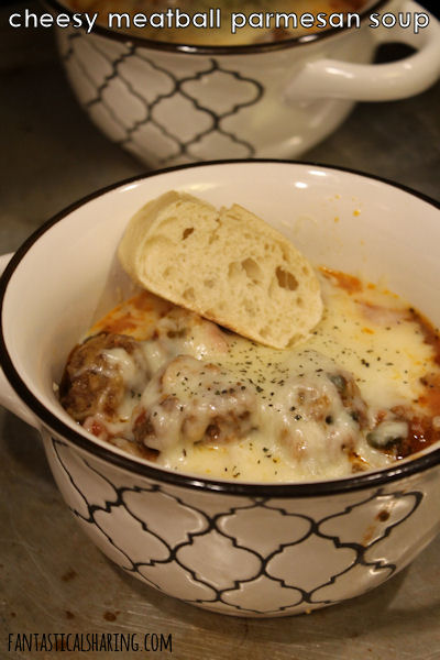 Cheesy Meatball Parmesan Soup #recipe #maindish #soup #beef #meatballs #cheese