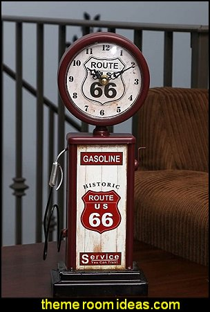 Old Fashioned Route 66 Gas Pump Mantle Clock
