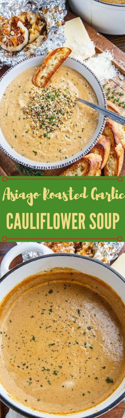 Asiago Roasted Garlic Cauliflower Soup #mushroom #roasted #cauliflower #vegan #vegetarian