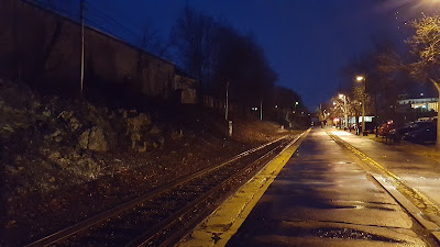 Franklin Dean Station; early in the morning, waiting for the train