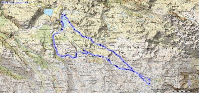 Mapa de la ruta al Cantu Ceñal y Cabeza la Forma desde el Lago Ercina