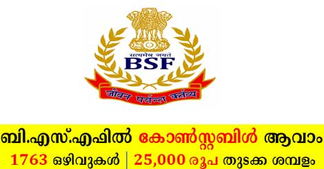 BSF Recruitment 2019 -1763 Constable Tradesmen vacancy