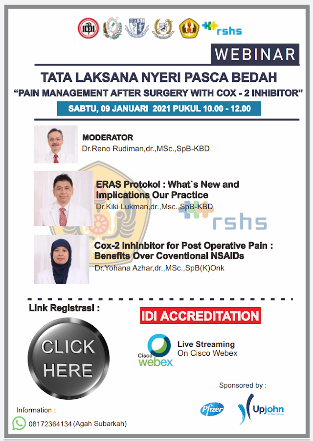 "Webinar TATA LAKSANA NYERI PASCA BEDAH ""Pain Management After Surgery With Cox-2 Ihbibitor"""