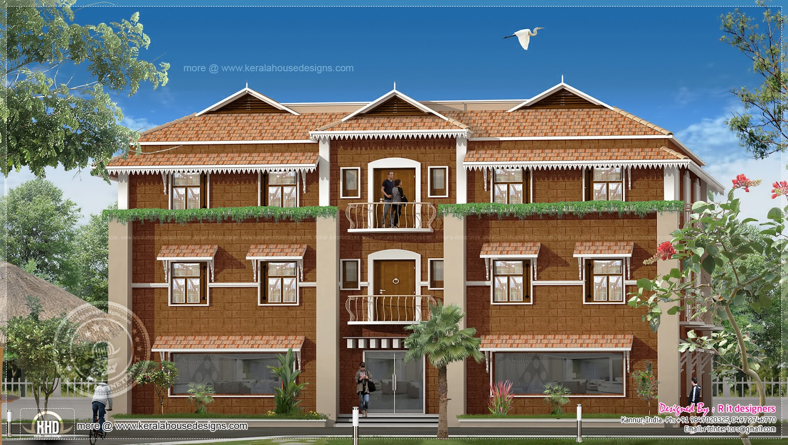 Duplex house elevation design in kerala house design plans for Duplex house models
