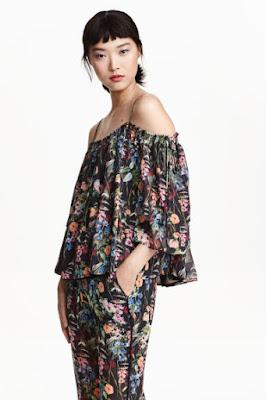 H&M nowa kolekcja wiosna/lato 2016 bluzka z odkrytymi ramionami trendy wiosna 2016