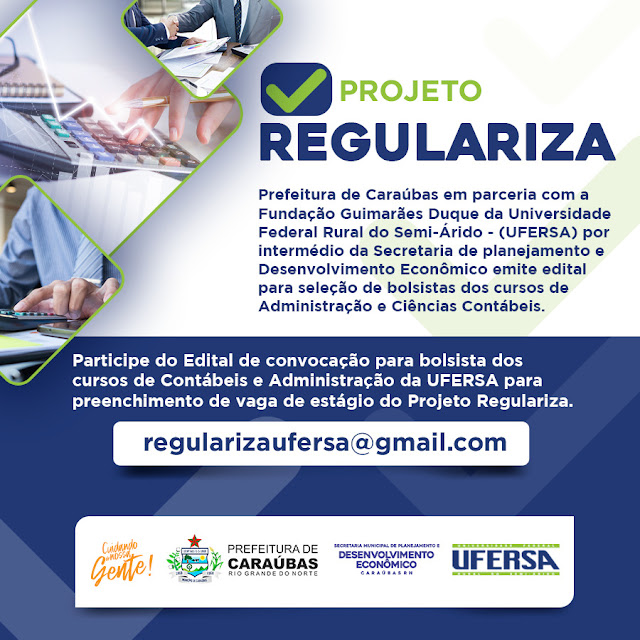 Prefeitura de Caraúbas em parceria com Ufersa lança edital de convocação para bolsista na área de Contábeis e Administração