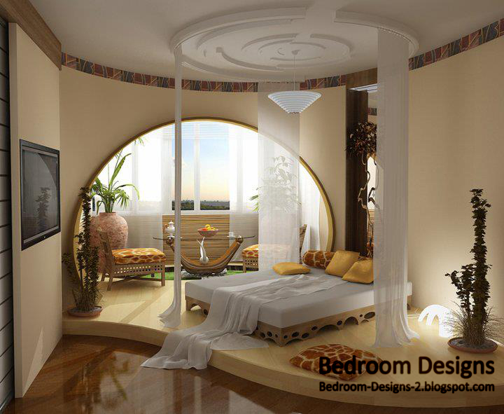 Bedroom Ceiling Designs Of Gypsum With Simple Round Curtains