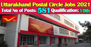 Uttarakhand Postal Circle Recruitment 2021 581 GDS Posts