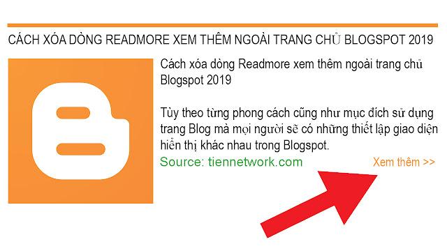 Cách xóa dòng Readmore xem thêm ngoài trang chủ Blogspot 2019