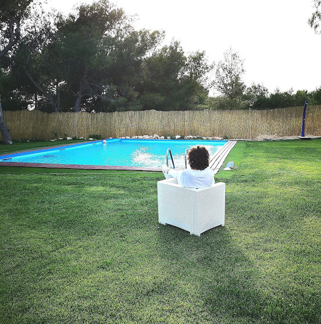 piscina e prato verde