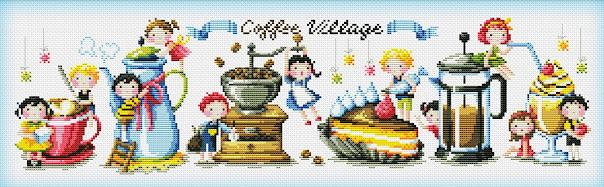 Pattern cross stitch Saga - The Coffee Village