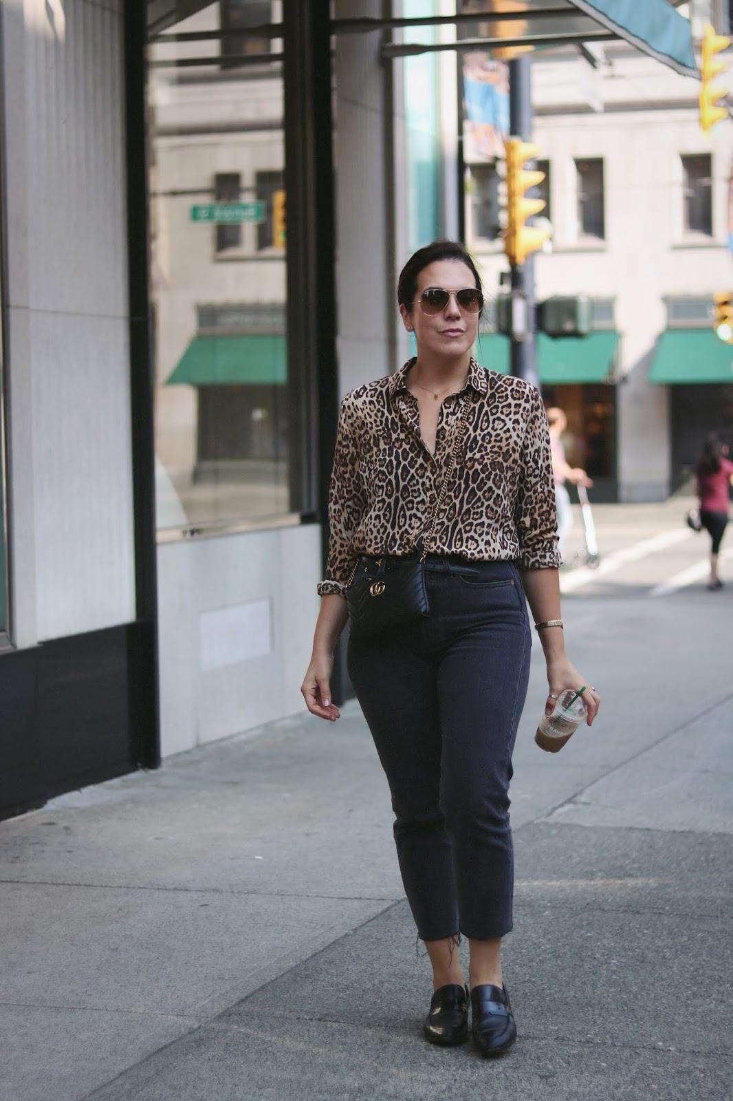 leopard print blouse outfit levis wedgie gucci marmont bag vancouver fashion blogger