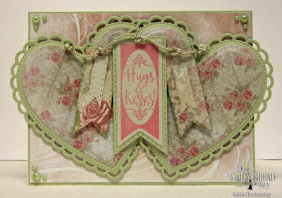 Our Daily Bread Designs, Pennant Flag Verses, Pennant Flag, Double Stitched Pennant Flag, Ornate Hearts, Shabby Rose, By Robin Clendenning