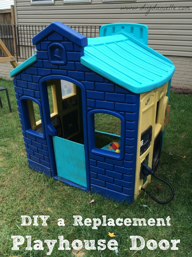 This is our completed playhouse painted and with the replacement door installed! & How to Make a Spare Door for a Plastic Playhouse - DIY Danielle