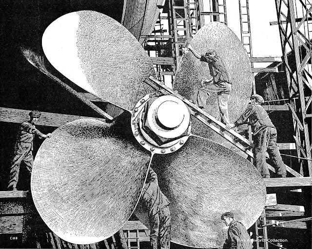 a C.W. Bacon 1952 illustration of workmen working on a giant ship propeller
