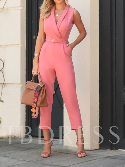 Casual Mid-Calf Plain High Waist Women's Jumpsuit