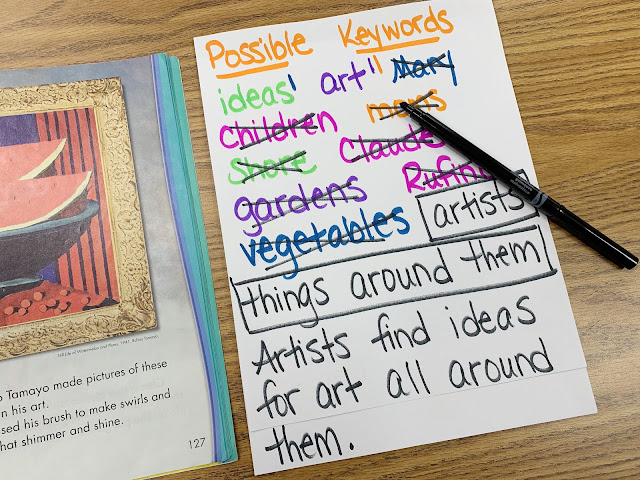 Text showing art and possible keywords paper with words crossed out, words boxed, and the main idea sentence