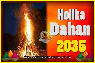 2035 Holika Dahan Puja Date & Time, 2035 Holika Dahan Calendar
