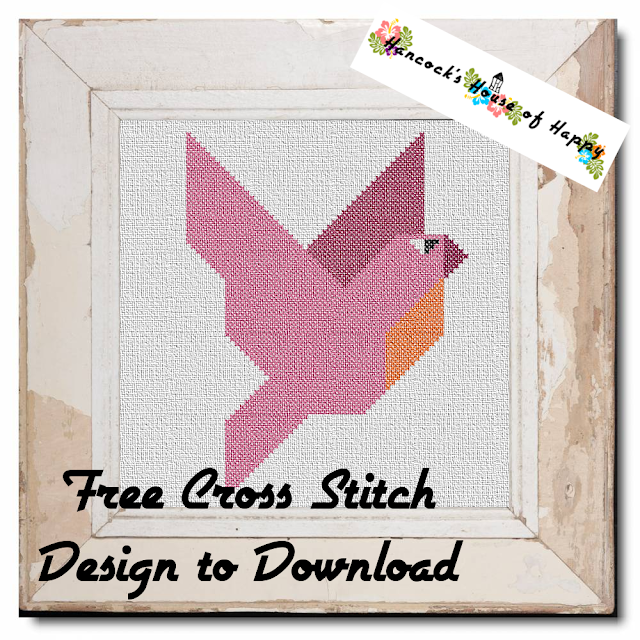 Free Beginner Cross Stitch Design to Download: Geometric Majestic Parrot