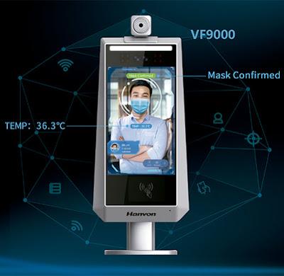 Control de accesos con detector de temperatura y máscara