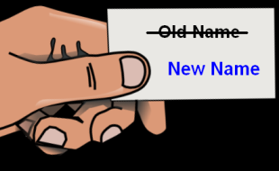 Name change clipart, hand holding changed namecard