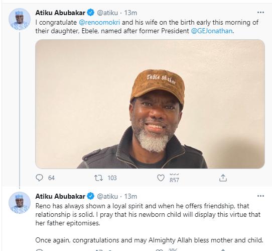 Reno Omokri names his newborn baby after former President Goodluck Ebele Jonathan