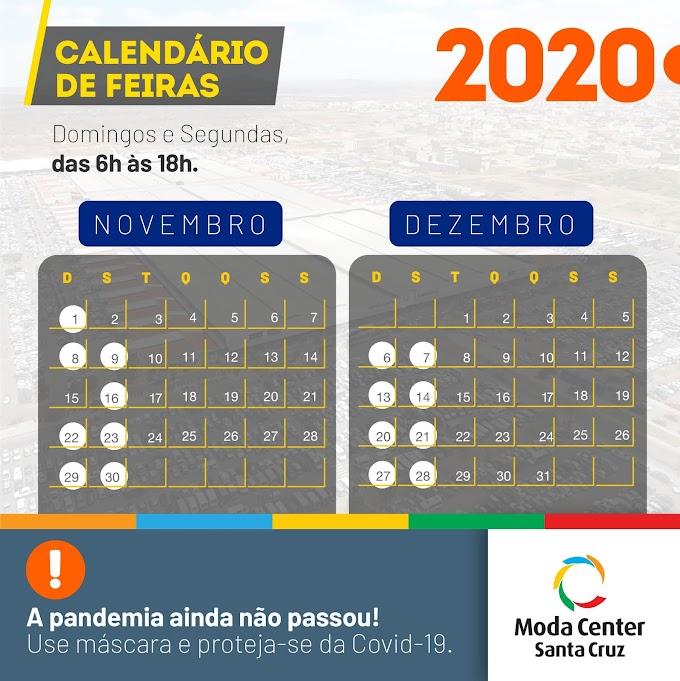 Calendário de Feiras - Novembro e Dezembro de 2020 no Moda Center Santa Cruz