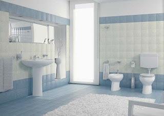 Diseño baño celeste