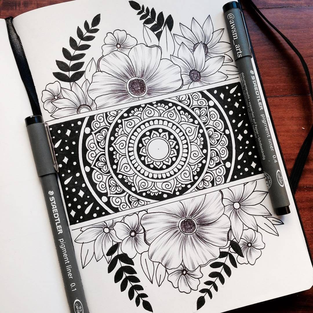 03-Flowers-Moleskine-Mandalas-Drawings-and-More-www-designstack-co