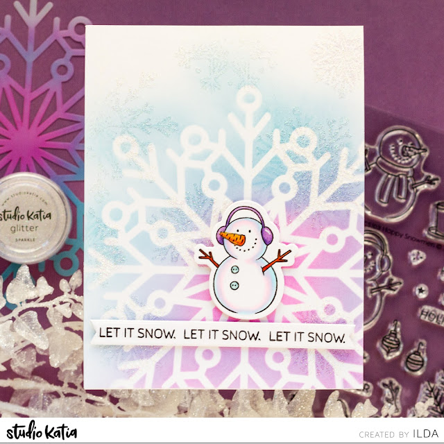 Card Making, Stamping, Die Cutting, handmade card, ilovedoingallthingscrafty, Stamps, how to,  Let It Snow, Snowflake Card, Studio Katia, Atelier Inks, Ink Blending,