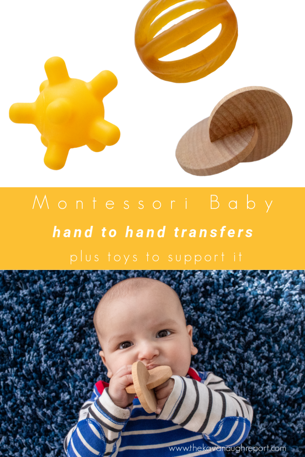 Observing hand-to-hand transfers and 4 months old, and some toys that can be used to support that new baby milestone