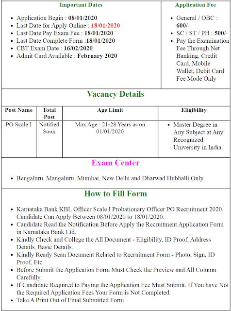 KBL Officer Scale I PO Online Form 2020