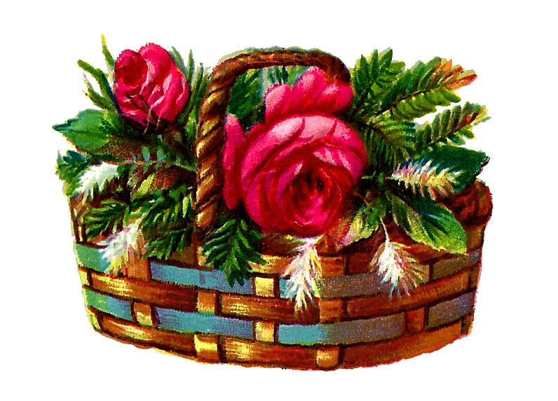 Clip Art Christmas Basket : Antique images digital flower red rose christmas basket