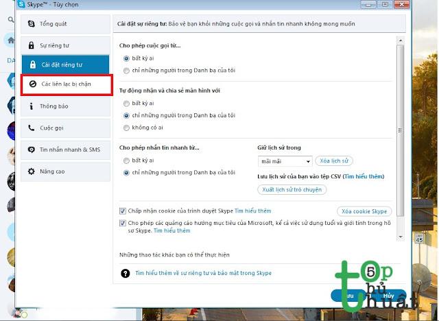 Bỏ chặn tài khoản trên Skype