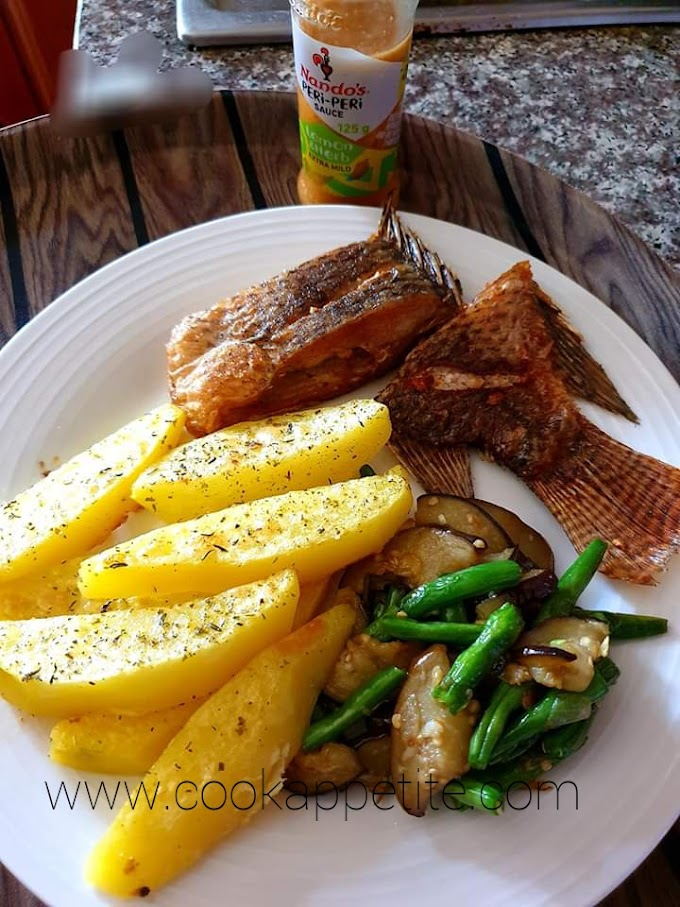 Baked Potato Wedges And Fried Fish