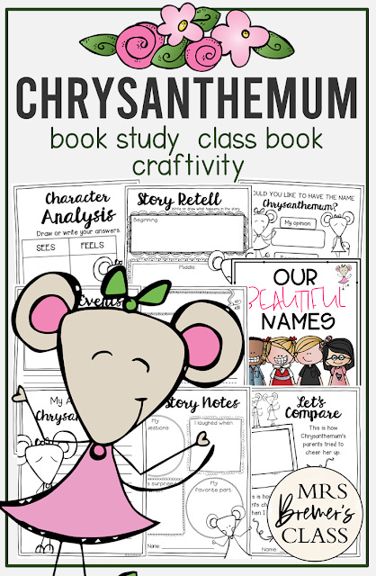 Chrysanthemum book study literacy unit with Common Core aligned companion activities and craftivity for Kindergarten and First Grade