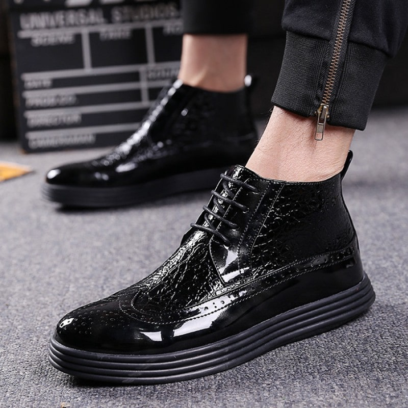 black-patent-thick-sole-lace-up-mens-ankle-sneakers-