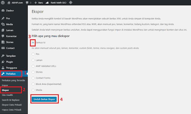 Ekspor WordPress