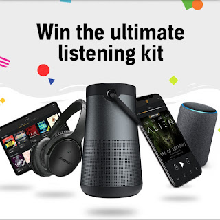 Screenshot of the prizes wit the text 'Win the ultimate listening kit' above.