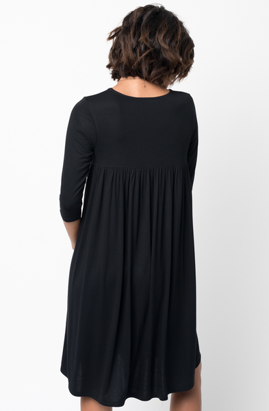Shop for Black Shirred Back Midi 3/4 sleeve jersey dress crew neck online on caralase.com