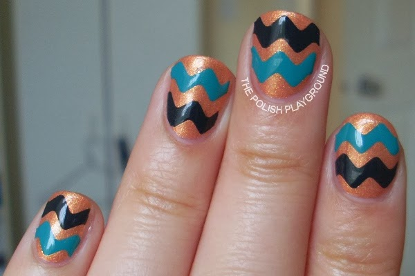 Green and Grey Chevron Nails
