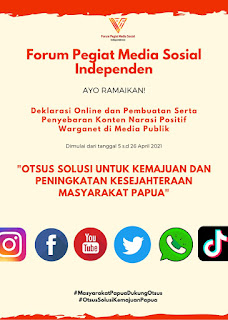 Komunitas FPMSI Ajak Warganet dan Milenial Papua Mendukung Otsus