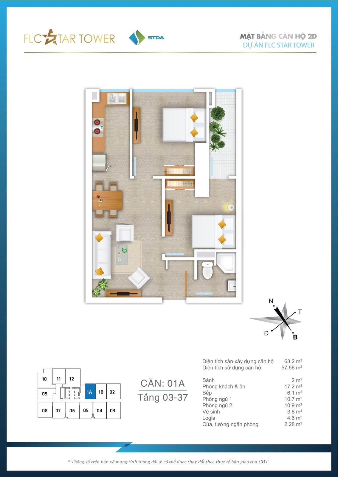 Thiết kế căn hộ 1A - Chung cư FLC Star Tower Hà Đông