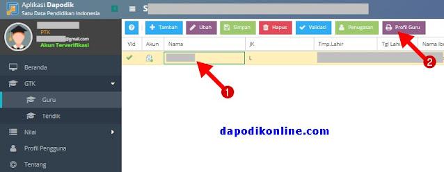 Klik kolom Nama Guru, kemudian klik Profil Guru