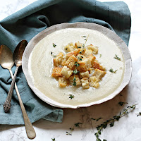 Jerusalem Artichoke Soup with Smoked Cheddar and Thyme Croutons