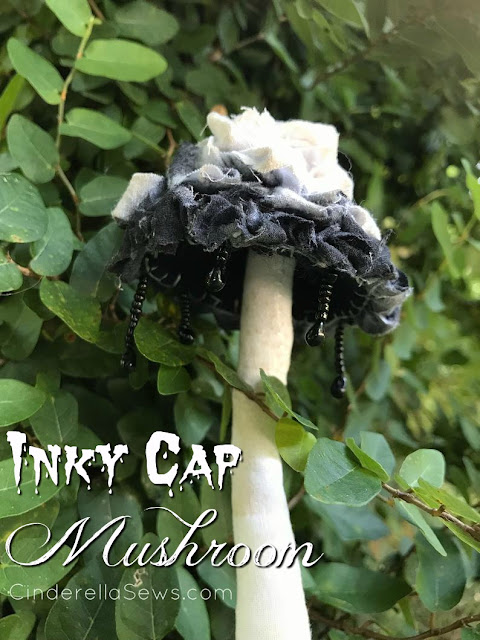 Inky Cap Mushroom Fabric Sculpture - This handmade art piece is perfect for Halloween decor, houseplant adornment, or as an ornament on winter trees! #inkycap #mushroom #toadstool #fabricmushroom #fabrictoadstool #enchantedforest #woodlandmagic #witchythings