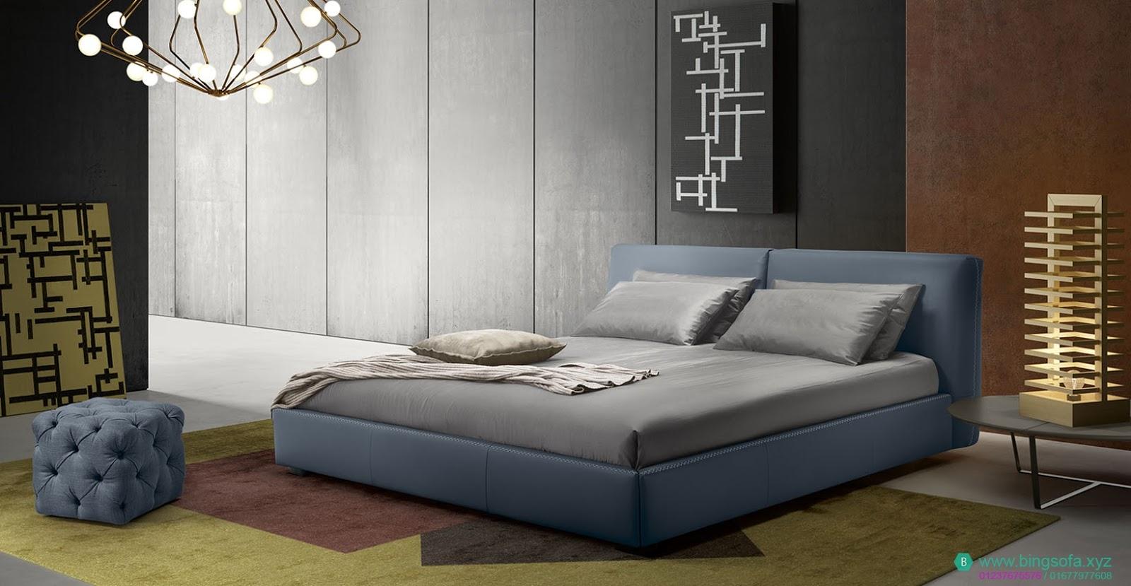 Mẫu giường ngủ bọc da cao cấp GN30