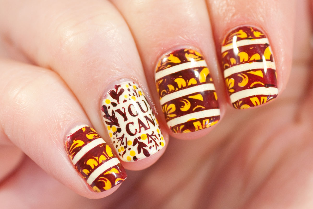 Stamped Autumn Nail Art design with MoYou Flower Power 27